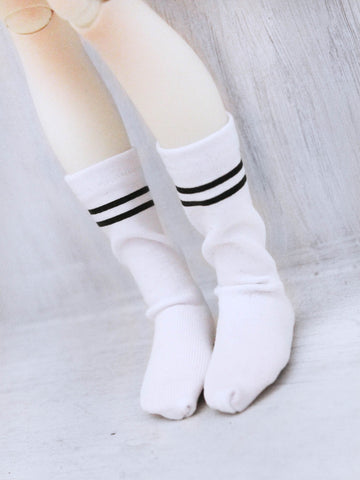 White Stripe print ankle high socks for BJD dolls - Monstro Designs