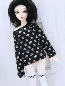 Black with Silver skull Pullover for Minifee Ready to Ship - Monstro Designs
