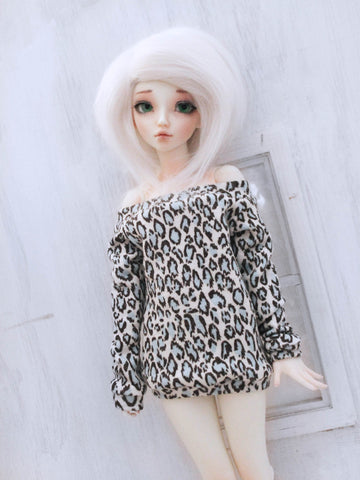 Blue Snow Leoaprd off the shoulder sweater for Minifee Dolls Ready to Ship - Monstro Designs