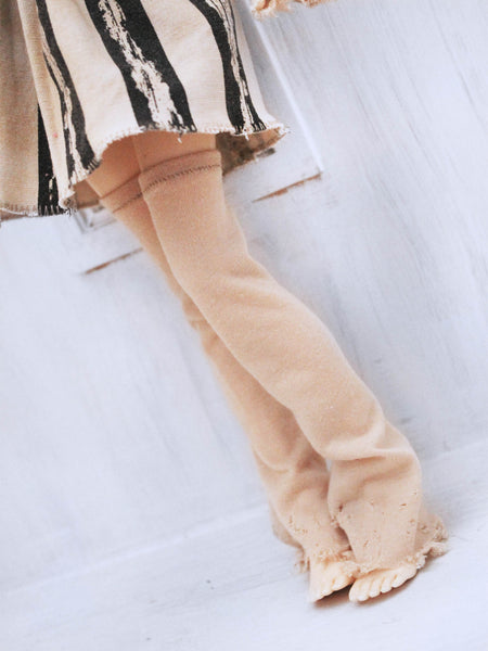 Tan distressed thigh high leg warmers and matching arm warmers set for MSD - Monstro Designs