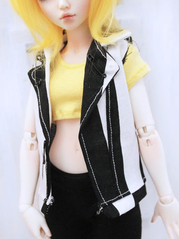 One of a Kind Black stripe vest for Slim MSD dolls - Monstro Designs