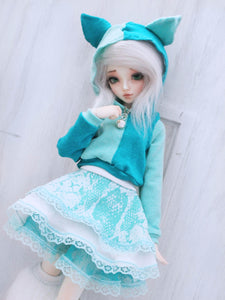 Limited Edition Teal mixed Kitty cropped hoodie for Minifee by MonstroDesigns - Monstro Designs
