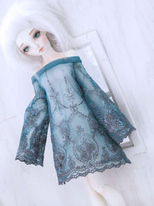 MSD BJD Teal blue lace Dress Ready to Ship - Monstro Designs