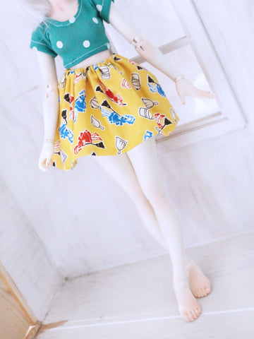 Yellow washer girl skirt for Minifee READY to SHIP - Monstro Designs