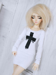 White Drip cross print long sleeve body con dress for BJD dolls by monstrodesigns Ready to ship - Monstro Designs