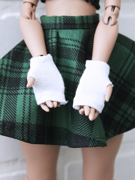 Black and white Thumb hole gloves set for MSD BJD dolls by MonstroDesigns READY to SHIP - Monstro Designs