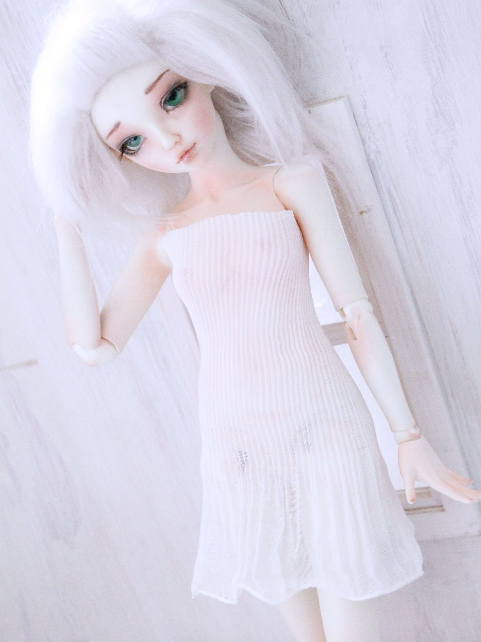 White pleated body con dress for BJD dolls ready to ship - Monstro Designs