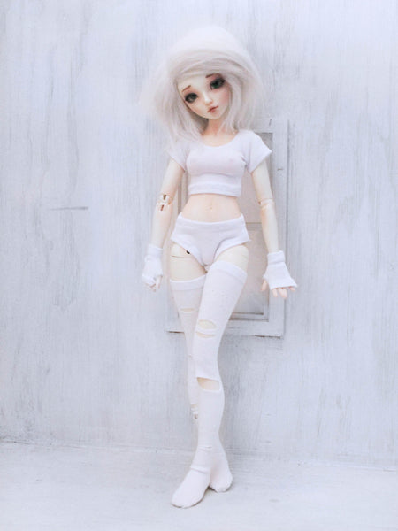 White crop top, gloves, socks and under wear set for Minifee - Monstro Designs