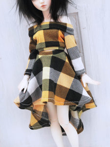 yellow buffalo plaid 3/4 sleeve crop top and skirt set for mini super dollfie - Monstro Designs