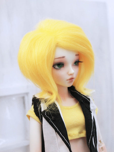 "6 or 7"" Yellow Shoulder length fake fur BJD wig READY to SHIP - Monstro Designs"