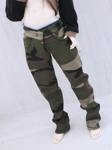 Camo jeans for Minifee Male BJD MSD Ready to Ship - Monstro Designs