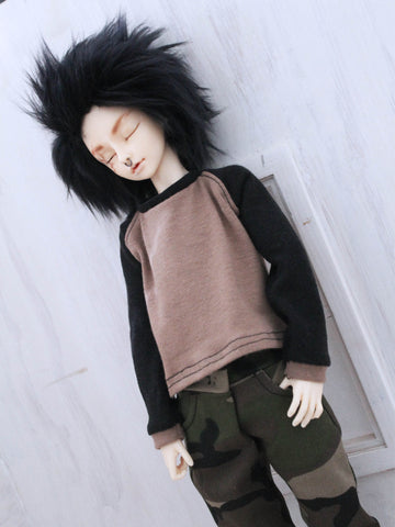 Black and tan baseball loose fit t shirt for Minifee Male BJD MSD Ready to Ship - Monstro Designs
