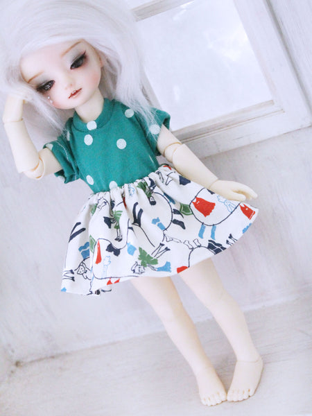 YOSD White washer girl skirt for BJD dolls READY to SHIP - Monstro Designs