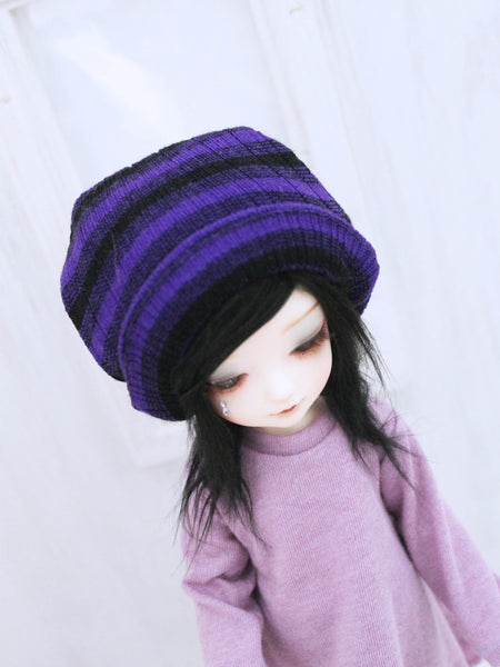 "Purple stripe loose or rolled beanie for 5-6"" YOSD dolls by MonstroDesigns READY to SHIP - Monstro Designs"