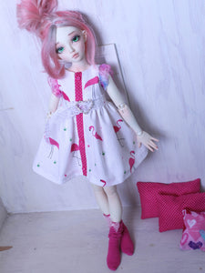 Pink Flamingo button down dress for Slim MSD / Minifee / YOSD by MonstroDesigns Ready to ship - Monstro Designs