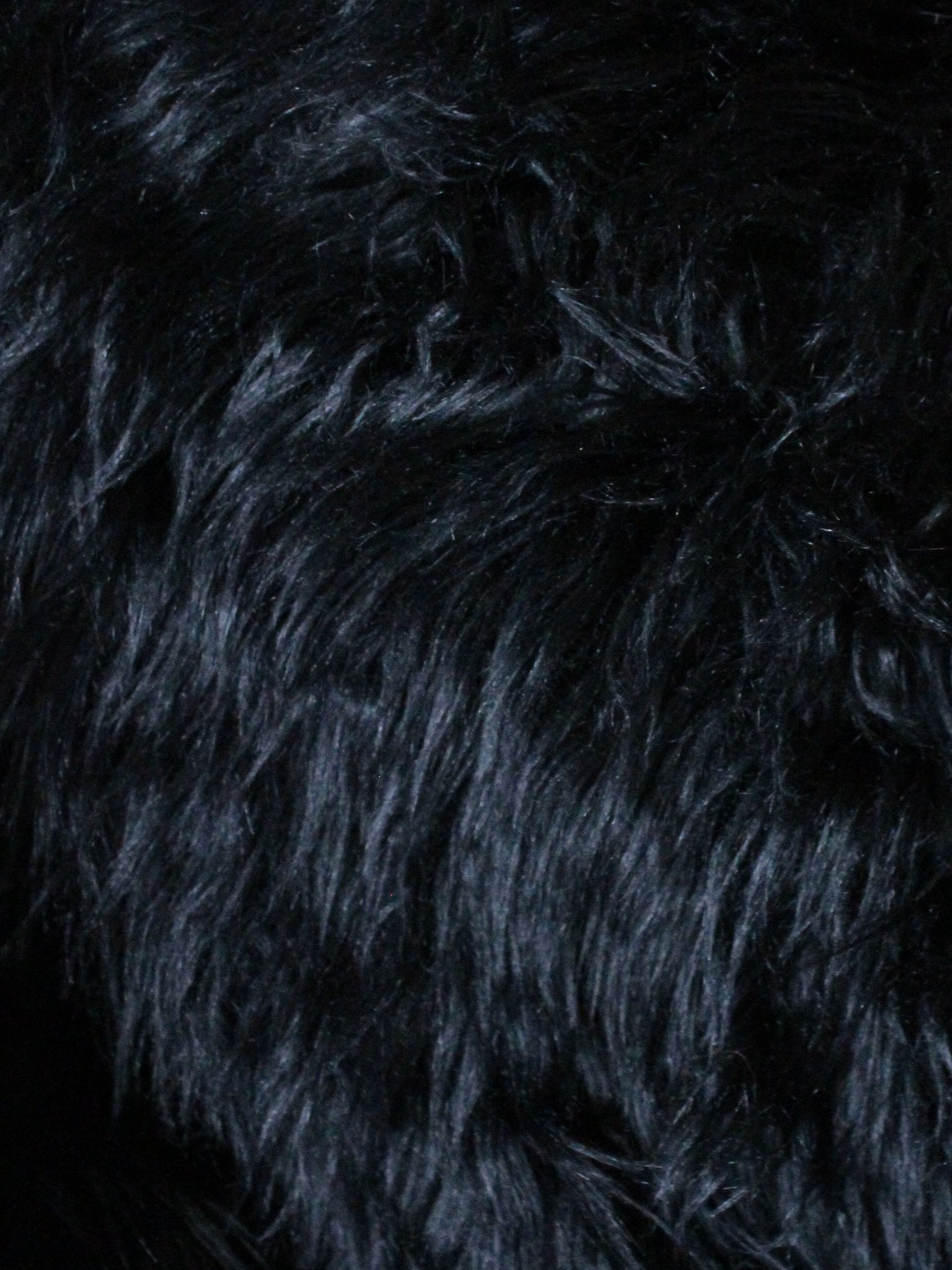"2"" Black fake fur fabric by the piece - Monstro Designs"