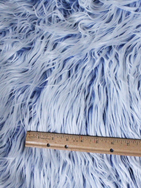 "3"" Blue with white fake fur fabric by the piece - Monstro Designs"