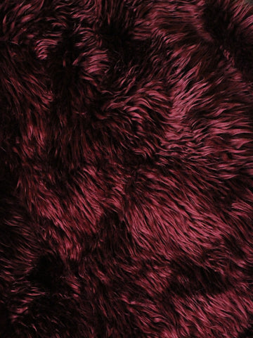 "2"" Burgundy fake fur fabric by the piece - Monstro Designs"