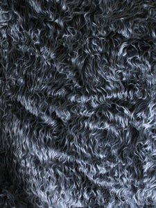 "1"" Silver wavy fake fur fabric by the piece - Monstro Designs"