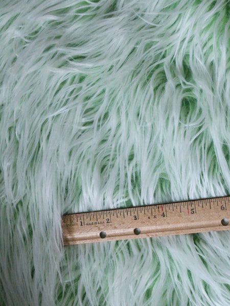"3"" Lime Green with white fake fur fabric by the piece - Monstro Designs"