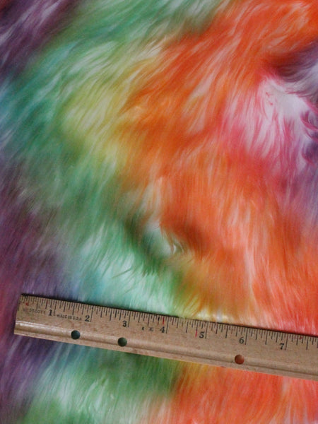 "1"" Rainbow white fake fur fabric by the piece - Monstro Designs"