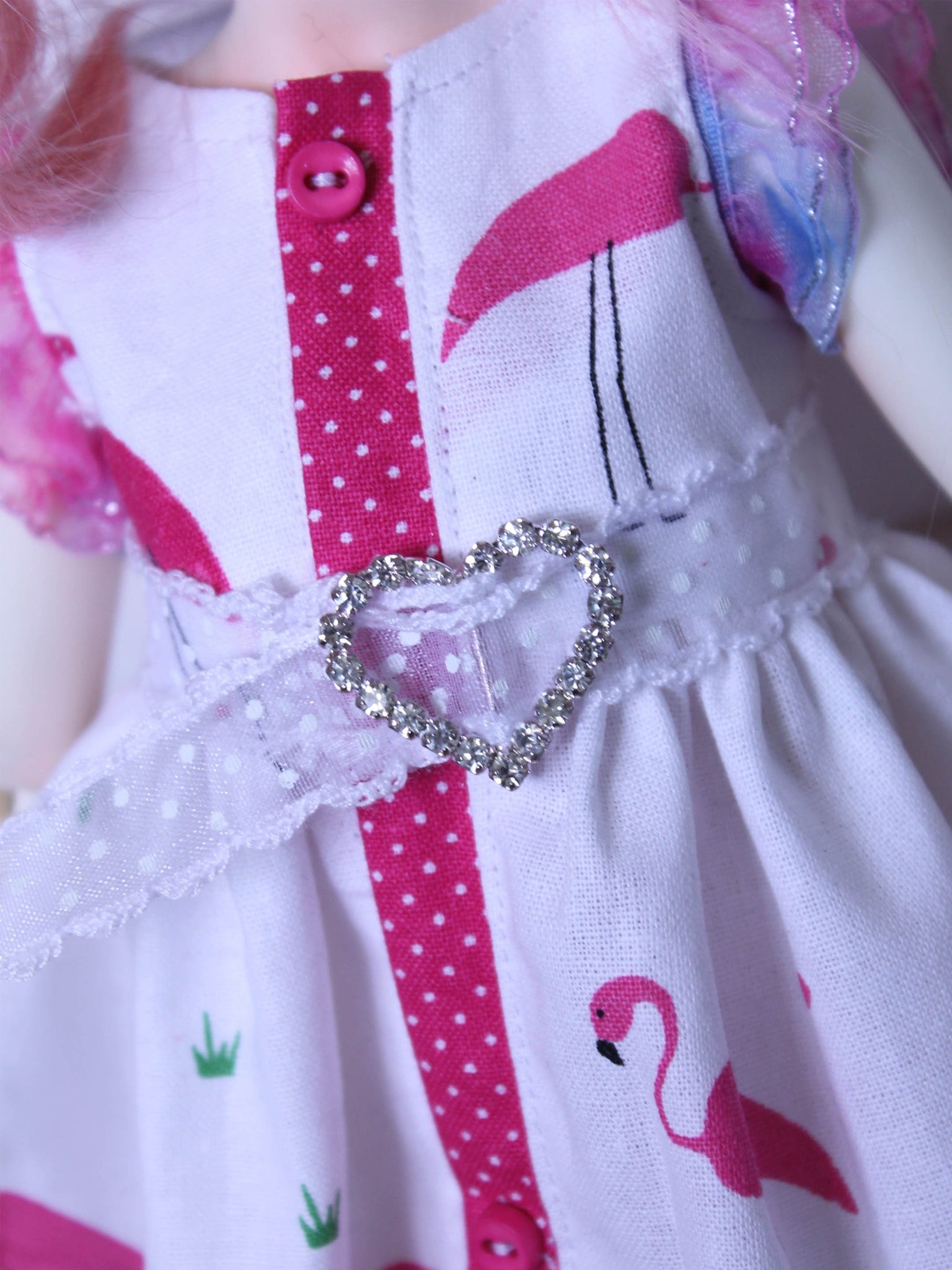 Rhinestone Heart belt for MSD BJD dolls by MonstroDesigns READY to SHIP - Monstro Designs