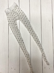 FLASH SALE DAMAGED white polka dot mesh tights for Minifee MonstroDesigns READY to SHIP