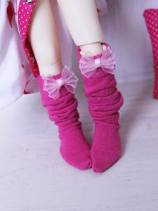 Pink Bow kawaii ankle socks for BJD dolls READY to SHIP - Monstro Designs