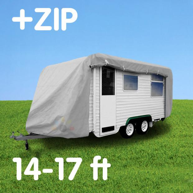 Budget Caravan Cover With Zip 14'-17' - Caravan Covers Direct
