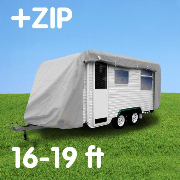 Budget Caravan Cover With Zip 16'-19' - Caravan Covers Direct