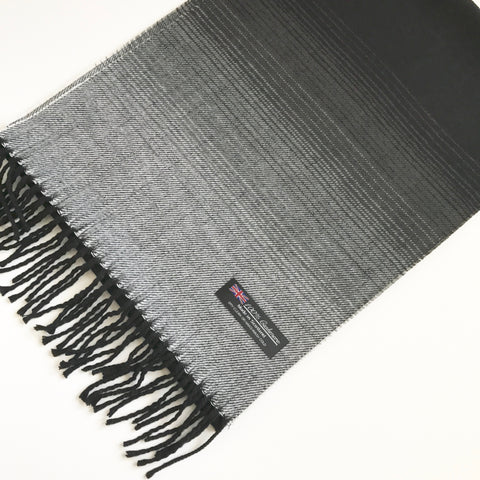 Black and gray striped ombre cashmere scarf