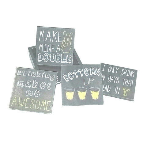 Cocktail Drink Sassy Statements decorative wooden coasters set