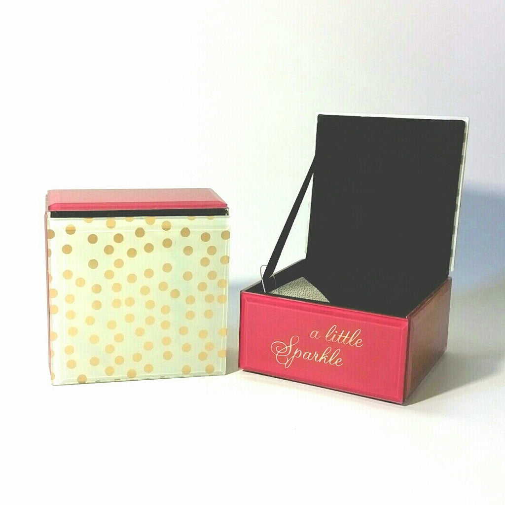 A Little Sparkle pink and gold dots glass trinket box