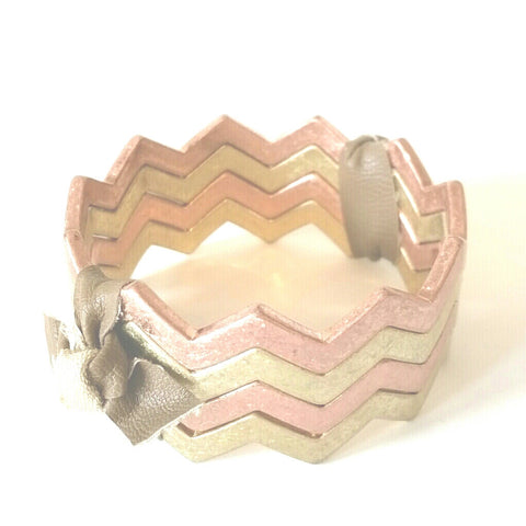 Chic Gold and Rose Gold Zig Zag Bangles Bracelets