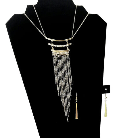 Gold Fringe Chain Necklace and Drop Earrings Set