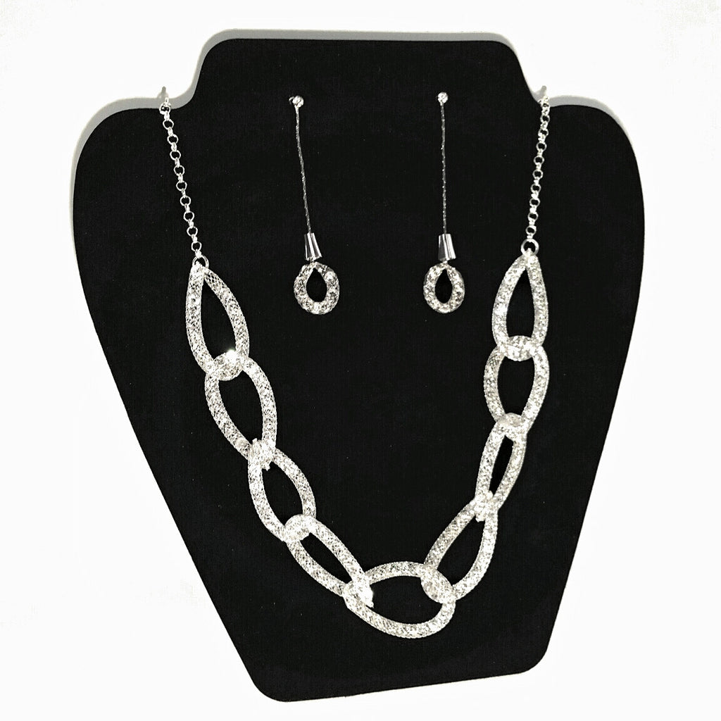 Silver Rhinestone Mesh Link Necklace and Earrings Set