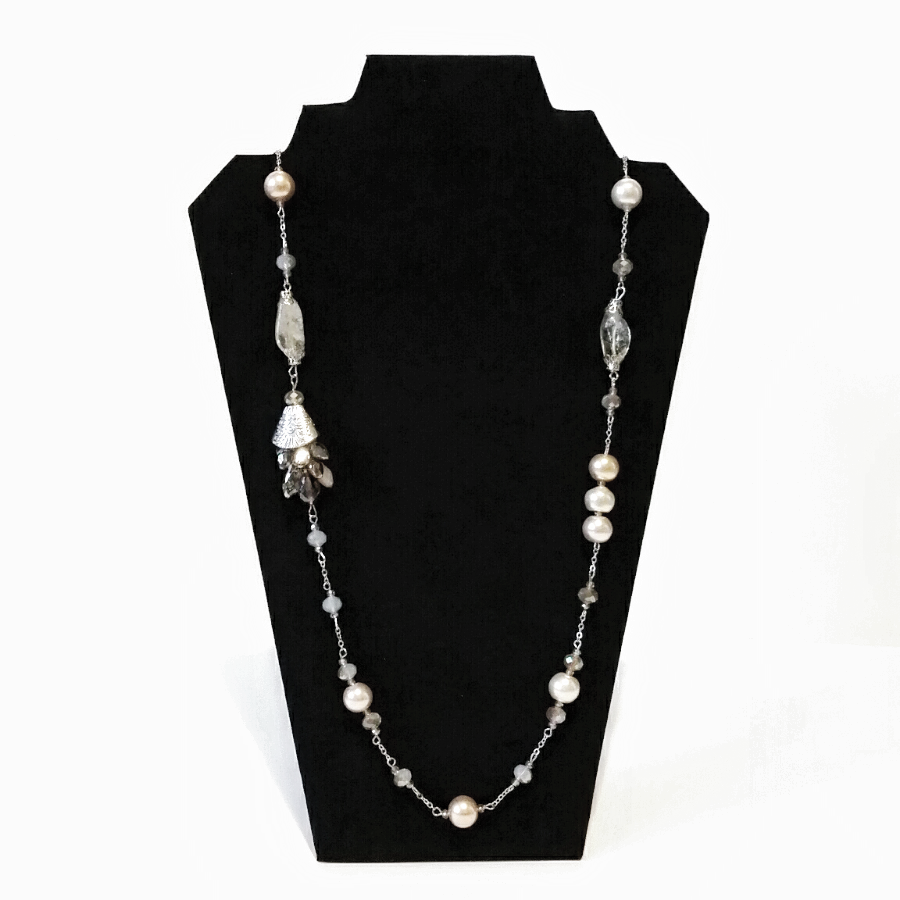 Pearl and Crystal Beaded Long Necklace