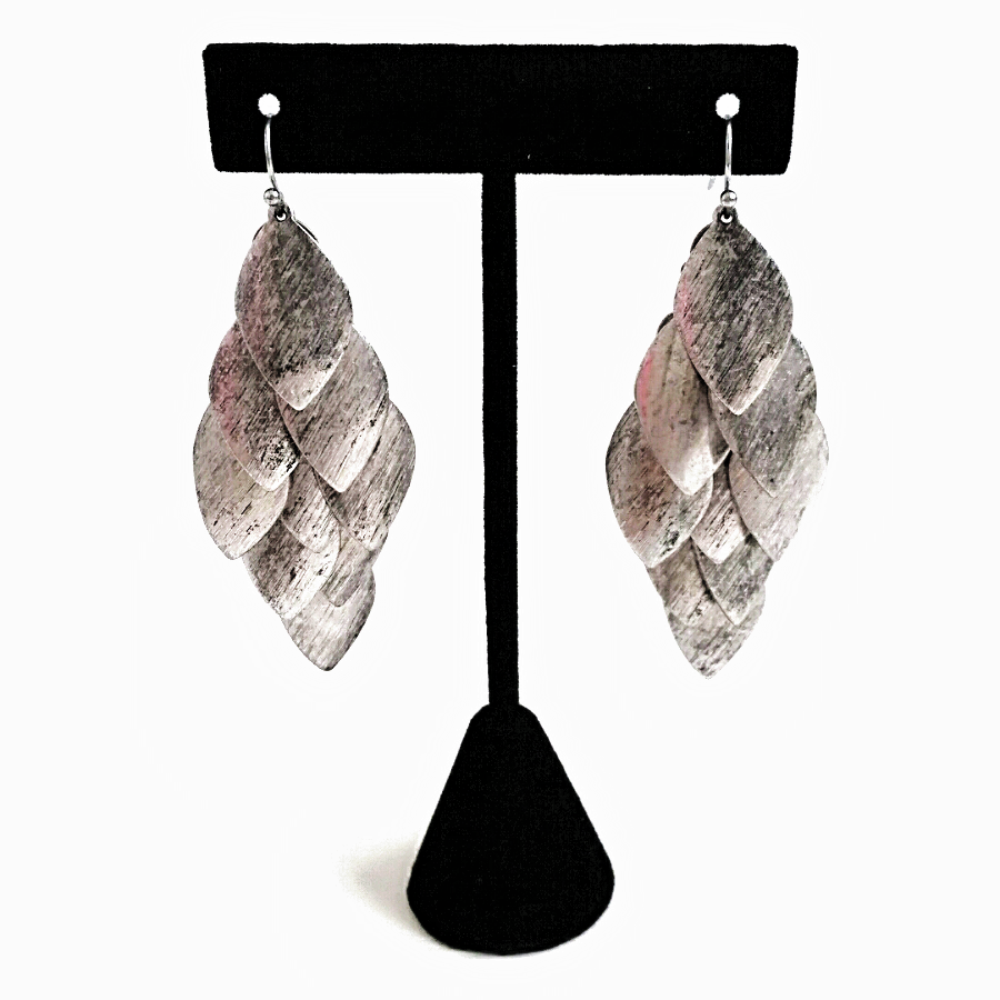 Silver Leaf Layered Chandelier Earrings