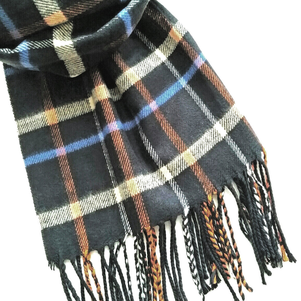 Unisex black orange blue plaid fashion scarf