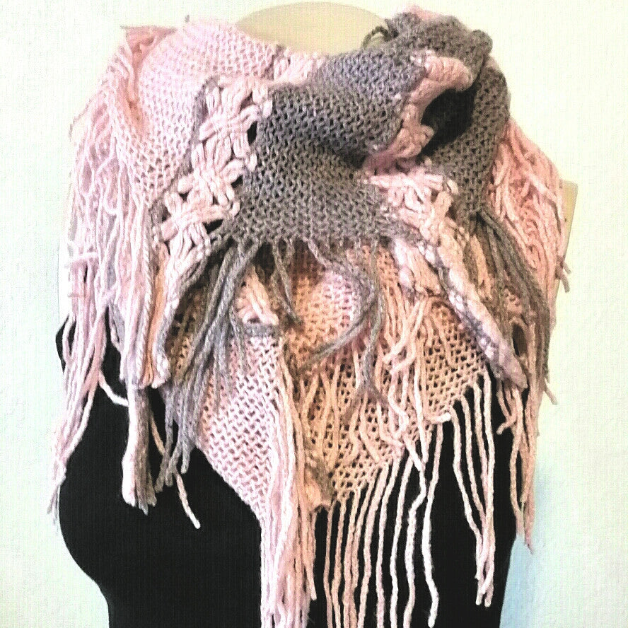 Women's pink and gray knit fringe infinity scarf