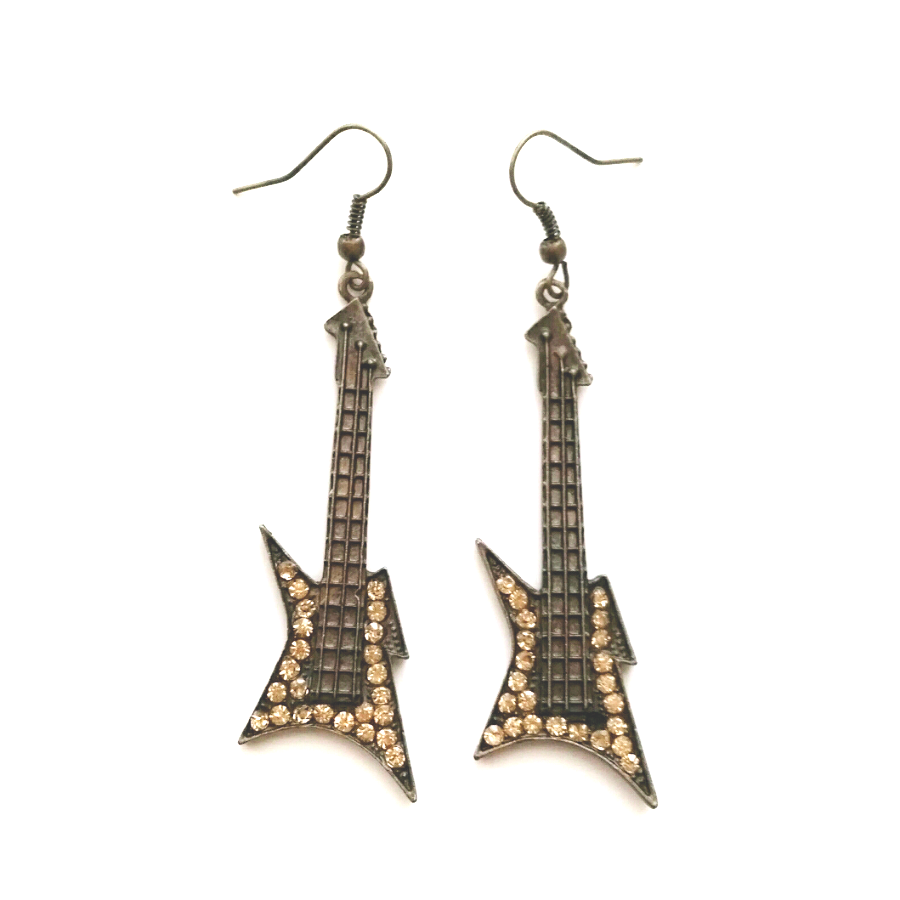 Guitar Rock & Roll rhinestone earrings
