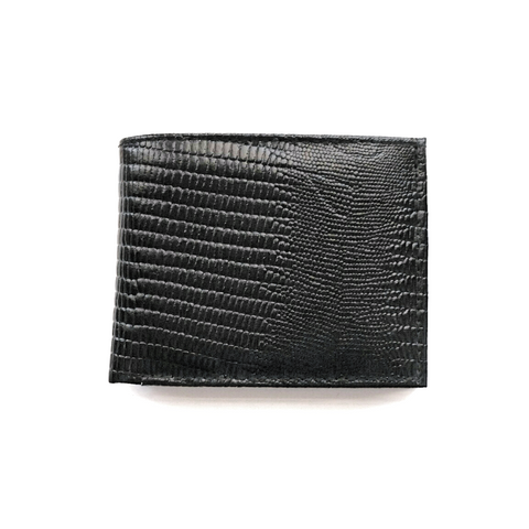 Men's black lizard embossed leather bifold wallet