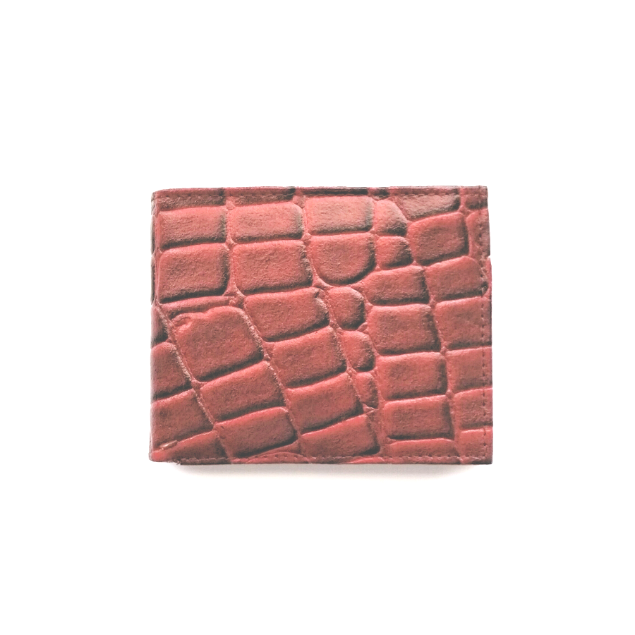 Men's red croc embossed leather bifold wallet