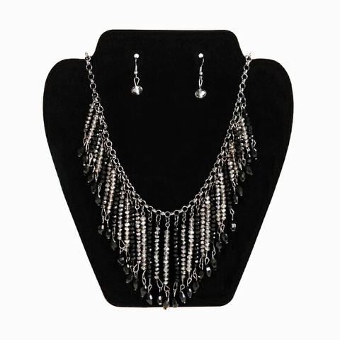 Black & White crystal bead collar necklace & earrings set