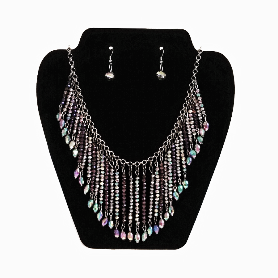 Purple & Multicolored crystal bead collar necklace & earrings set