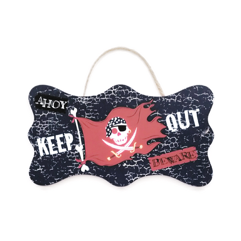 Boys Pirate Keep Out wall sign decor