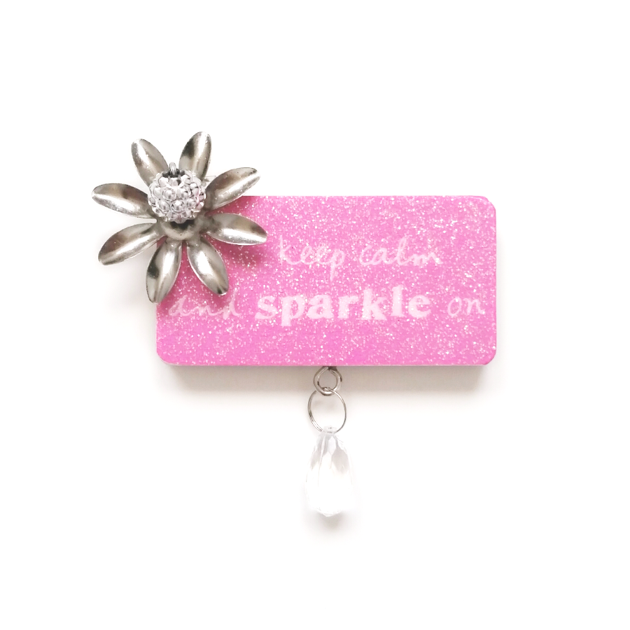 KEEP CALM and SPARKLE ON treasured plaque magnet decor