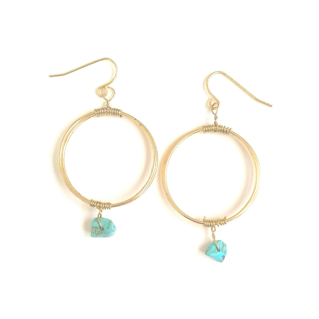 Gold and Turquoise stone dangle hoop earrings