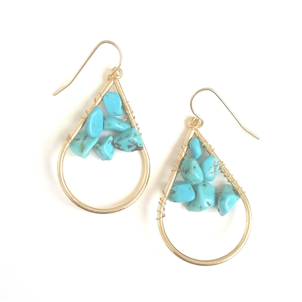 Gold and Turquoise Boho cluster stone tear drop earrings