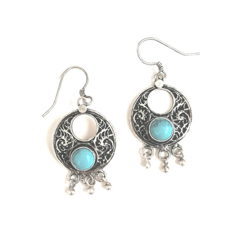 Boho Silver and Turquoise Circle Dangle Earrings